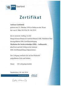 IHK-Zertifikat Mediation für Sachverständige Andreas Gadzimski