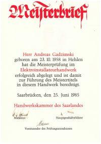 Meisterbrief Andreas Gadzimski Elektroinstallateurhandwerk