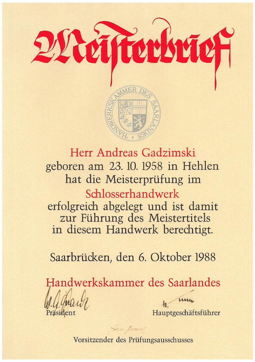 Meisterbrief Andreas Gadzimski Schlosserhandwerk