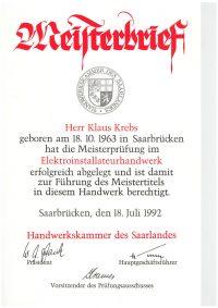Meisterbrief Klaus Krebs Elektroinstallateurhandwerk