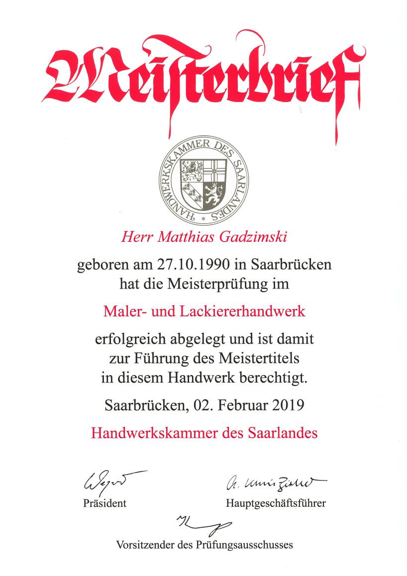 Meisterbrief Matthias Gadzimski Maler- und Lackiererhandwerk