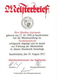 Meisterbrief Matthias Gadzimski Tischlerhandwerk