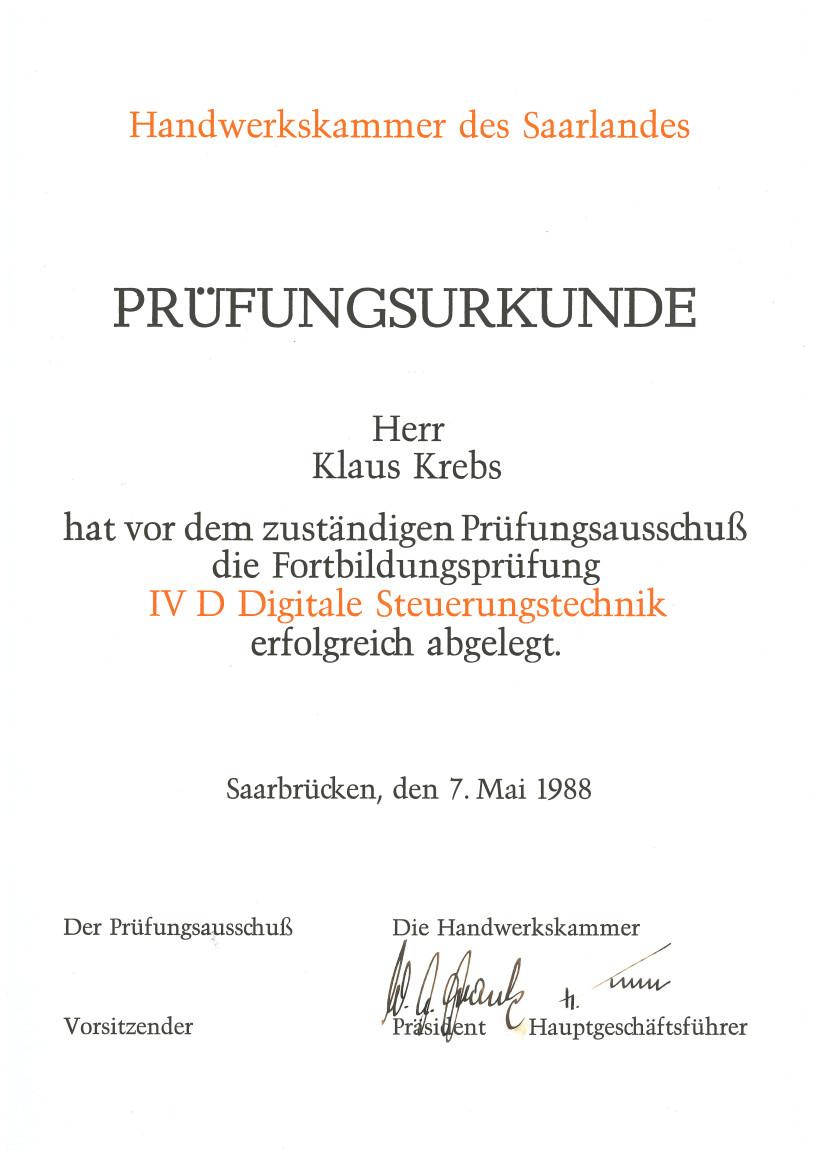 Prüfungsurkunde Digitale Steuerungstechnik Klaus Krebs