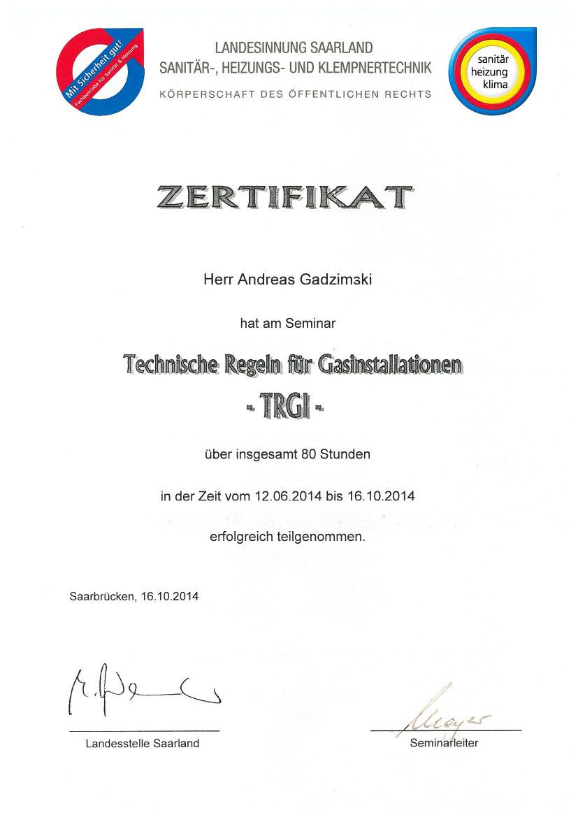 Zertifikat Fachkundelehrgang Mineralwolle Matthias Gadzimski